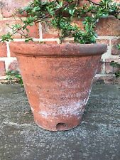 """Old Hand Thrown Vintage Terracotta Plant Pot Side Drainage 8.5"""" Diameter A"""
