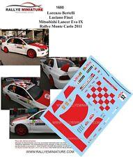 DECALS 1/43 REF 1680 MTSUBISHI LANCER BERTELLI RALLYE MONTE CARLO 2011 RALLY