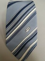 Vintage Brioni Blue/Grey Logo Striped Silk Tie Made in Italy
