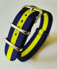 18 mm Nato Strap Correa Reloj Nylon Watch band azul y amarillo blue and yellow.