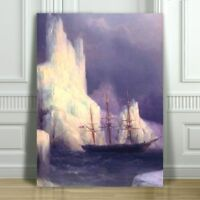 IVAN AIVAZOVSKY - Icebergs in the Atlantic - CANVAS PRINT POSTER - Ship - 18x12""