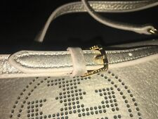 Tory Burch Womens Crossbody Handbag Gold Tone Metallic Perforated Leather Logo