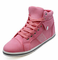 LADIES PINK LACE-UP FLAT TRAINER PLIMSOLL PUMPS CASUAL ANKLE BOOTS SHOES UK 3-8