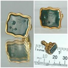 Antique Victorian Intaglio Seal Fob Sunflower basking Sun Rays  Always Grateful