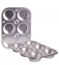 Lot Of 2 -6 Cup Muffin Cooking Pan Steel Bakeware Baking Muffins & Cupcakes