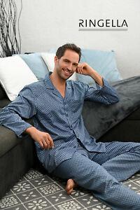 RINGELLA Herrenmode Größe L/52 Langarm Satin Pyjama Schlafanzug blau