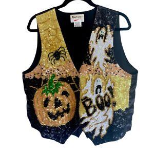 Vintage Fashion Fantasy Halloween Sequin Ghost Pumpkin Bling Snap Vest Size XL