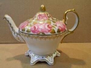 Grosvenor Jackson & Gosling Ye Olde English Teapot Pink Roses & Gold Leaves