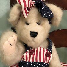 "Teddy Bear 'Cherish' Skm Brand Patriotic America 16"" Tall"