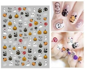 Nail Art Stickers Decals Halloween Haunted House Pumpkin Spiders Web Ghost WG119