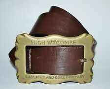 RARE Vtg 1800's High Wycombe Gaslight & Coke Co Brass Buckle w/Toohey Dodge Belt
