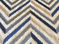 Jane Churchill Embroidered Chevron Fabric- Bossa Nova Blue 1.75 yd J753F-02