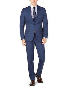 Van Heusen Mens Suit Set Navy Blue Size 38 Slim Fit Flex 2 Piece $495 #145