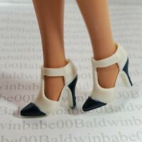 `SHOES BARBIE DOLL MATTEL HOLIDAY VISIONS WHITE CLOSED TOE HIGH HEEL PUMPS