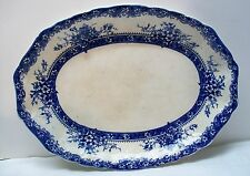 Flow Blue Large Serving Plate Platter Plymouth New Wharf Pottery England Antique