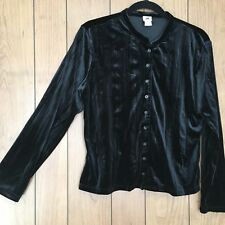 J Jill Button Up Shirt Blouse Sz M Black Crushed Velvet Stretch Career Retro