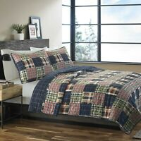 BEAUTIFUL COZY PATCHWORK PLAID BLUE NAVY RED GREEN LOG CABIN LODGE QUILT SET NEW