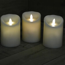 Set of 3 - 13cm X 9cm Battery Operated Dancing Flame Candle With Timer in Cream