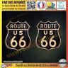 2 Stickers Autocollant adhésif route 66 déco Harley auto casque moto old school