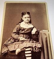 Antique Victorian American Fashion Girl Striped Socks! Springfield, MA CDV Photo