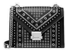 NWT MICHAEL KORS WHITNEY LARGE Conv Shoulder Bag Studs Grommets In BLACK Leather
