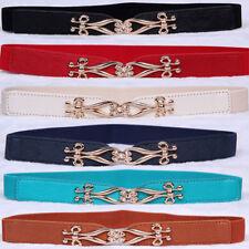 Womens Ladies Elastic Stretch PU Leather Waist Belt Skinny Buckle Waist Band New