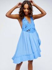 FREE PEOPLE Kissed By The Waves Mini Dress in Beautiful Blue Size S $128.00 NWT