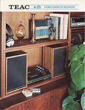 Teac A-25 Stereo Cassette Deck Brochure 1972