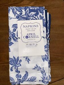 April Cornell Blue White  Floral French Provencal Napkins Set Of 8 Polka Dot NWT