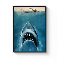 Jaws Classic Film Movie Shark Art Wordless Poster Print - A4 A3 A2 A1 A0 Framed