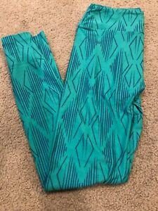 BNWOT  LuLaRoe OS leggings Stripe Geometric Aztec Blue Green One size