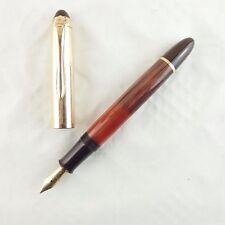 Alter Geha Kolbenfüller perlbraun gestreift mit 585 Goldfeder