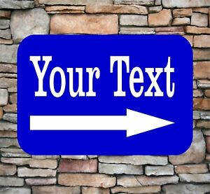 """Personalized 8"""" x 12"""" Aluminum Metal Sign Your Custom Text Right Pointing Arrow"""