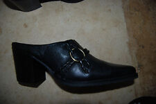 New Black  WHITE MOUNTAIN Pointy Toe Backless Shoes w/Straps & Metal Ring 8 M