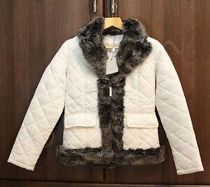 Christiano Baldinucci Designer Ladies Cream Ivory Quilted Short Jacket Faux Fur