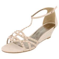 Ladies Anne Michelle Wedge Sandals F10277 Nude 4 UK Standard