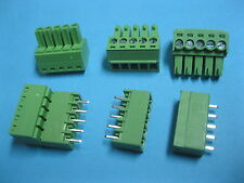 10 pcs Pitch 3.81mm 5way/pin Screw Terminal Block Connector Green Pluggable Type