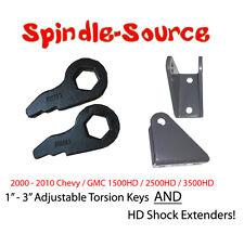 """2000 -2010 Silverado 1500HD 2500HD 3500HD 3"""" Lift Keys w/ Shock Extenders Forged"""