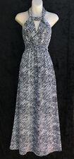 WITCHERY Halter Neck Maxi Dress Black White Crepe Fabric Shirring Under Bust 14