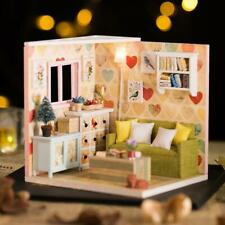 Wood Warm Doll House Miniature Assemble DIY Dollhouse with Furniture Kits Gift