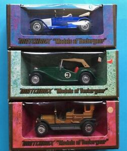 MATCHBOX MODELS OF YESTERYEAR Y8 MGTC Y2 Vauxhall Y5 Peugeot  ALL BOXED Used