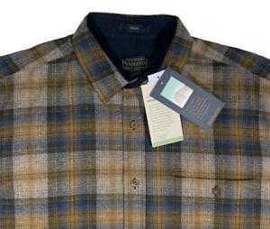 Men's PENDLETON Tan Blue + Plaid Wool Shirt XL X-Large NEW NWT TRAIL UMATILLA