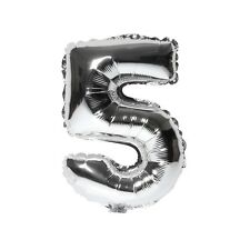 "40"" Metallic Silver Glossy Five Year Old Birthday Party Number 5 Float Balloon"