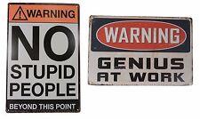 2 X Warning Genius No Trespassing Funny Tin Sign Set Bar Garage Wall Decor Retro