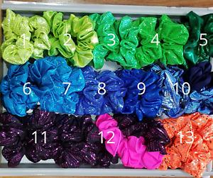 Lycra Foil/Sparkle Scrunchies for dance, gymnastics, swimming & general daywear