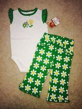 Carters 2-Piece Set White Short Sleeve Bodysuit & Green Daisy Pants Size 9M NWT