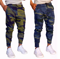 MENS CUFF PANTS CAMO COTTON SKINNY TAPERED LEG JOGGERS TRACKIES CUFFED ARMY GYM