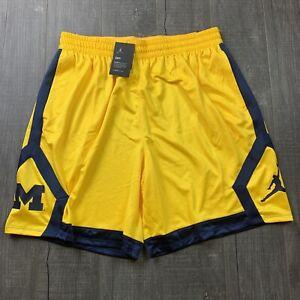🆕 Mens Jordan Nike Michigan Wolverines Basketball Shorts Size 3XL $55 RARE
