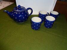 Bunzlauer Keramik Tee-Kaffee Kanne und 4 Becher mit Henkel blau-weiße Punkte Top