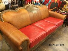 Tooled Handcut 100% Top Grain Leather San Angelo Sofa - Made in USA
